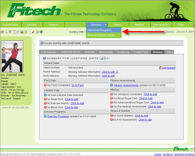 fitech help documentation exercise using exercise program templates